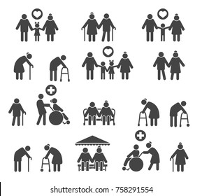 Retired people family. Senior parents and olds care silhouette icons isolated on white background, vector icons