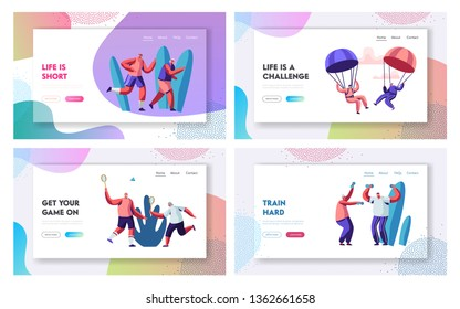 Retired People Sport Activity Set. Extreme Skydiving Characters, Joggers, Friends Playing Badminton, Training with Dumbbells. Website Landing Page, Web Page. Cartoon Flat Vector Illustration, Banner