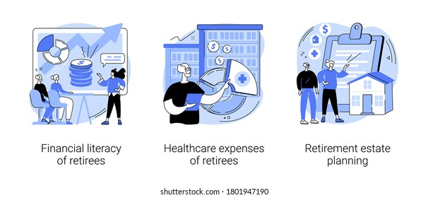 Retiree budget plan abstract concept vector illustration set. Financial literacy of retirees, healthcare expenses, retirement estate planning, health insurance plan, law advisor abstract metaphor.