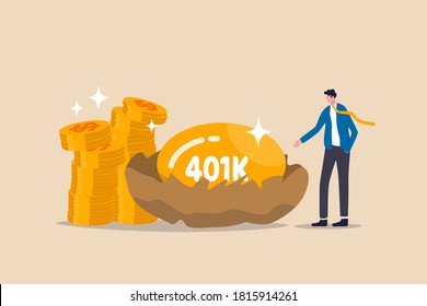 Retirement 401K investment, tax defer mutual fund for salary man financial success concept, happy young businessman investor stand with wealthy golden egg with word 401K and dollar money coin stack.