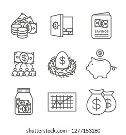 Retirement Account and Savings Icon Set - Mutual Fund, Roth IRA, etc