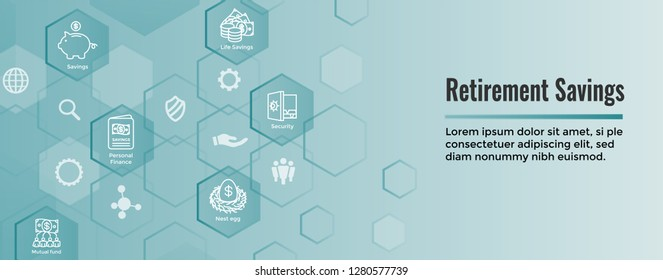 Retirement Account & Savings Icon Set Web Header Banner - Mutual Fund, Roth IRA, etc