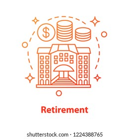 Retirement concept icon. Money savings idea thin line illustration. Bank building, dollar coins. Personal bank account. Subsidy getting. Vector isolated outline drawing