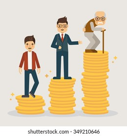 Retirement money plan. Financial concept illustration.