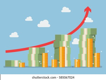 Retirement money plan with red arrow. Vector illustration
