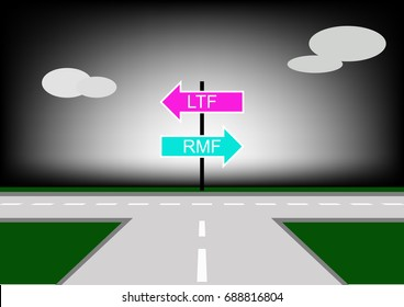 Retirement Mutual Fund Or Long Term Equity Fund.choice for Investors.Roads with left and right junction.