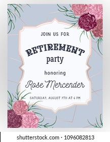 Retirement party invitation. Design template with rose gold polygonal frame and carnation flowers in watercolor style. Vector illustration