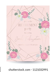 Retirement party invitation. Design template with rose gold polygonal frame and floral elements in watercolor style. Pink camellias, white lily flowers and eucalyptus leaf. Vector illustration