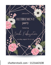 Retirement party invitation. Design template with rose gold polygonal frame and floral elements in watercolor style. Pink camellias, anemone and alstroemeria flowers. Vector illustration