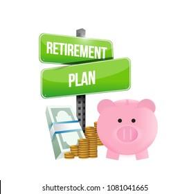 Retirement plan pig safe and money sign. Vector illustration design over white background.