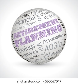 retirement planning vector theme sphere with keywords