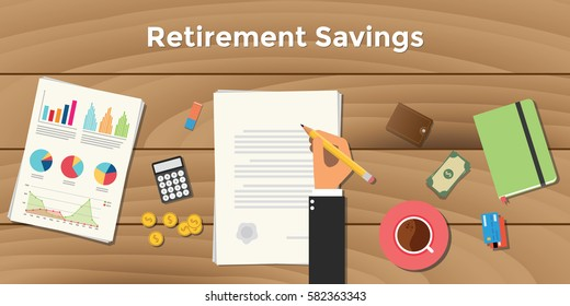 retirement saving illustration  business man signing a paper work document on top of wooden table with pencil with graph chart money calculator
