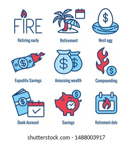 Retirement Savings Icon Set with money bags, nest egg, calendar and more