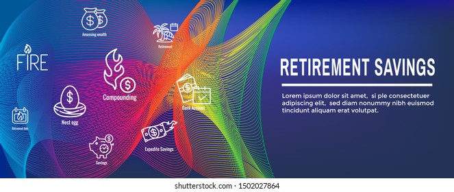 Retirement Savings Icon Set with Web Header Banner