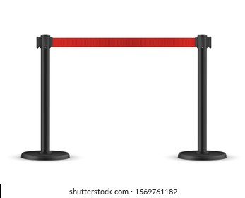 Retractable belt stanchion. Portable ribbon barrier. Red fencing tape.