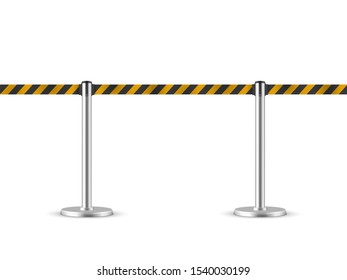 Retractable belt stanchion seamless illustration. Portable ribbon barrier.