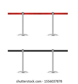 Retractable belt stanchion seamless illustration set. Portable ribbon barriers.