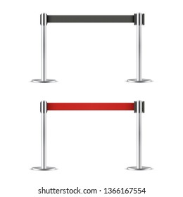 Retractable belt stanchion set, barrier. Strong, upright pole for crowd control. Vector flat style cartoon illustration isolated on white background