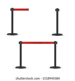 Retractable belt stanchion set. Portable ribbon barrier. Red striped hazard fencing tape.