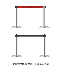 Retractable belt stanchion set. Portable ribbon barrier. black and red fencing tape.