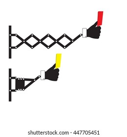 Retractable wall punching hand holding yellow card and red card  sign, vector illustration.
