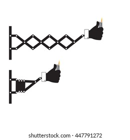 Retractable wall punching hand holding lighter sign, vector illustration.