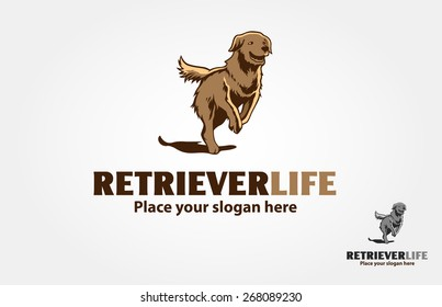 Retriever Life Vector Logo Illustration. This is an illustrative logo, the basic of the concept is a running retriever, it's try to symbolize a retriever life.
