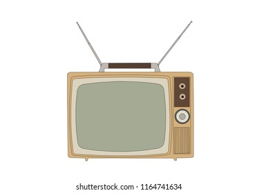 Retro 1960s vintage television isolated on white vector illustration.