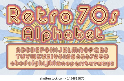 Retro 1970s font alphabet design; this brightly colored striped lettering is in a classic rounded early seventies style.