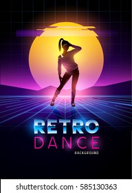 Retro 1980's dancing lady with glitch sunset background. Vector illustration