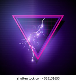 Retro 1980's Element with triangles and lightning bolts. Vector illustration