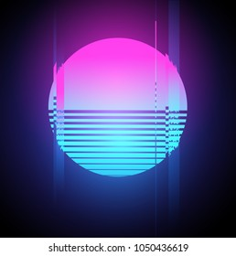 Retro 1980's glowing neon sun glitch effect. Vector illustration