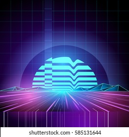 Retro 1980s Neon future background horizon. Vector illustration