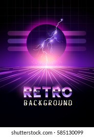 Retro 1980's neon horizon background with lightning bolts. Vector illustration