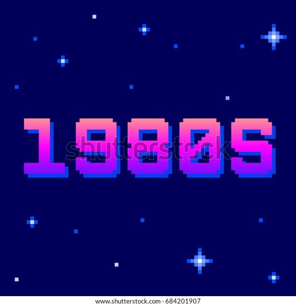 Retro 1980s Pixel Text. EPS8 Vector
