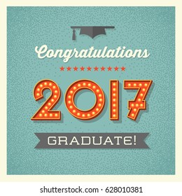 retro 2017 graduation card or banner design with vintage light bulb sign numbers. Vector illustration.
