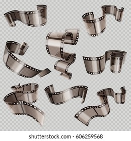 Retro 35mm foto and movie film roll vector set. Video tape part, illustration of cinematography multimedia tape photography.
