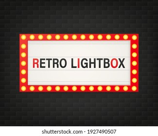 Retro 3d advertising with retro lightbox on background for banner design. Vector design banner. Vector stage.