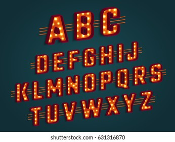 Retro 3D alphabet with light bulbs. Retro cinema and show signs, glowing lights. Vector illustration.