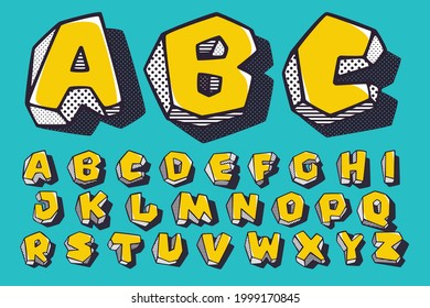 Retro 3d alphabet with polka dot and striped pattern on the sides. Vector isometric font for kids logo, a magic toy company, impossible art posters, etc.