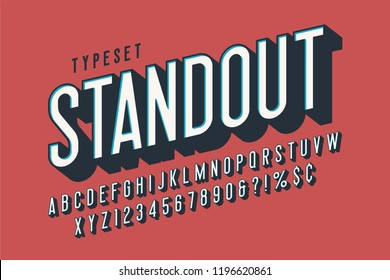 Retro 3d display font design, alphabet, letters and numbers. Swatch color control