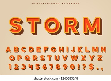 Retro 3d letters set with numerals and some punctuation symbols. Vintage 3d alphabet with shadow.