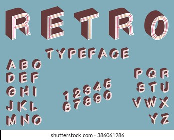 Retro 3d Typeface / vintage vector stock isometric font in 60s style, letters