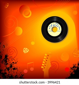 Retro 45 RPM record in an abstract music background.