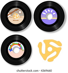 Retro 45 RPM record: with sample label designs, and classic spindle adapter.
