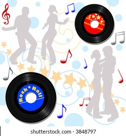 Retro 45 RPM records, for a disco or 50s 60s record hop background.
