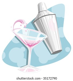 retro 50's style vector illustration of a splashing cosmopolitan martini and shaker- happy hour!