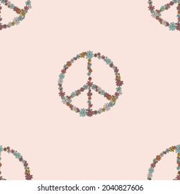 Retro 60s - 70s style with a rainbow hippie sun in a simple linear style. Naive boho style by hand, festival of colors and music, signs of peace and free love