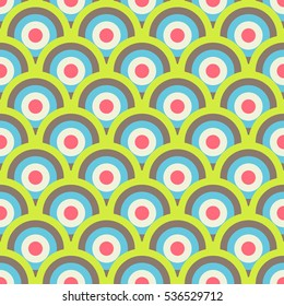 Retro 60-s geometric seamless pattern with bright candy colored circles and waves. Vector illustration for background, wrapping paper, fabric and textile print, wallpaper, package, greeting card.