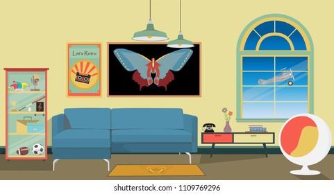 Retro 70's colorful living room interior design. Flat style vector illustration.